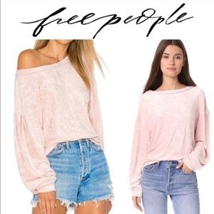 We The Free Pink Crushed Pink Velvet Top Size: XS